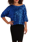 Say Goodbye to Shy Top - Blue, Solid, Sequins, Party, 3/4 Sleeve, Winter, Short