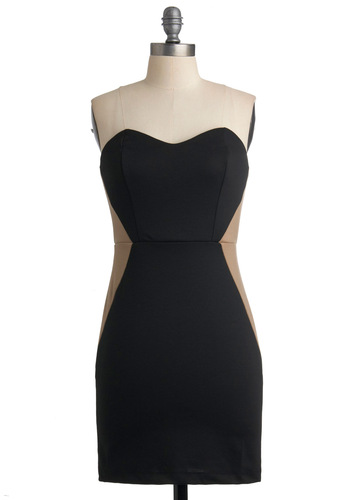 Wine and Diamond Dress - Black, Tan / Cream, Sleeveless, Solid, Party, Sheath / Shift, Short, Cocktail, Girls Night Out, Sweetheart