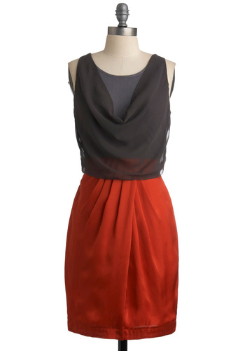 Spark a Conversation Dress - Red, Sleeveless, Solid, Pleats, Sheath / Shift, Grey, Exposed zipper, Party, Mid-length