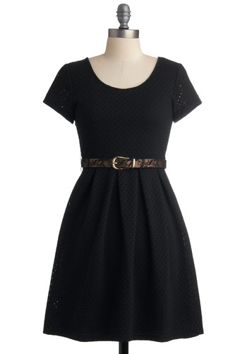 Simply Sensational Dress - Black, Solid, Buckles, Lace, A-line, Short Sleeves, Casual, Short