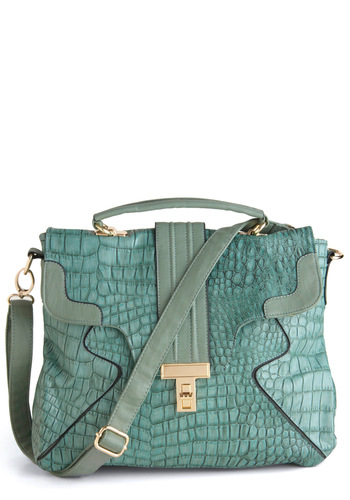 Executive Chic Bag - Green, Animal Print, Buckles, Gold, Work