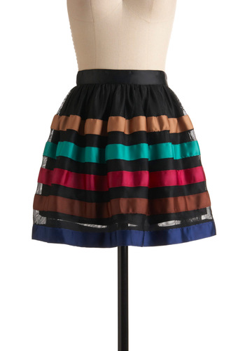 Bring a Guest Skirt - Multi, Stripes, Party, Ballerina / Tutu, Fall, Mini, Red, Green, Blue, Brown, Black, Short