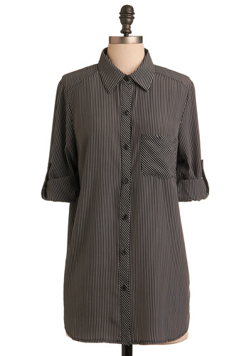 Lit Mag Editor Tunic - Black, White, Buttons, Pockets, Stripes, Work, 3/4 Sleeve, Fall, Winter, Long