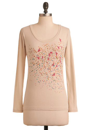 Flock This Way Top - Red, Orange, Green, Blue, Long Sleeve, Print with Animals, Casual, Spring, Fall, Mid-length, Cream
