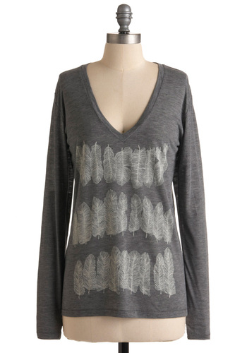 Say You Quill Top - Grey, White, Print, Long Sleeve, Casual, Spring, Winter, Mid-length