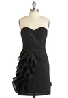 Ripple Affection Dress - Black, Solid, Ruffles, Wedding, Party, A-line, Strapless, Summer, Fall, Mid-length, Show On Featured Sale, Special Occasion, Prom