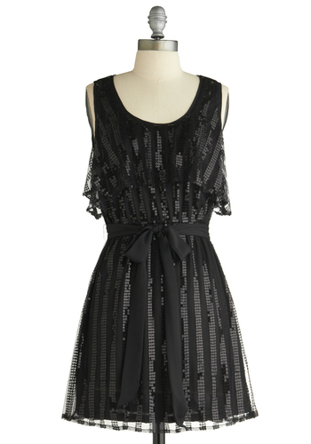 Midnight Kiss Dress - Black, Stripes, Ruffles, Sequins, Wedding, Party, A-line, Sleeveless, Mid-length, Summer