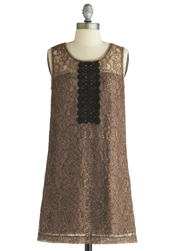 The Ornamentalist Dress - Brown, Black, Gold, Lace, Sheath / Shift, Sleeveless, Floral, Trim, Wedding, Party, 60s, Fall, Vintage Inspired, 20s, 30s, Embroidery, Short, Exclusives