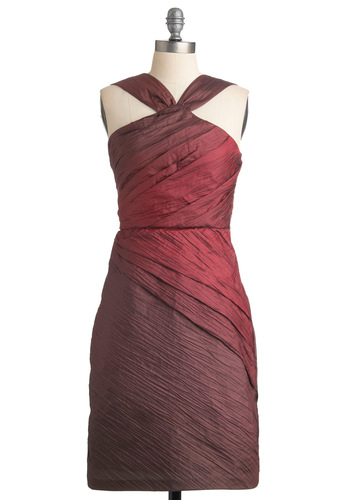 Kiss and Makeup Dress by Max and Cleo - Red, Solid, Sheath / Shift, Formal, Wedding, Party, Halter, Fall, Long