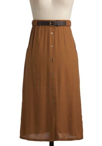 A Day's Work Skirt - Brown, Solid, Buttons, Pockets, Work, Casual, Spring, Summer, Fall, Winter, Long