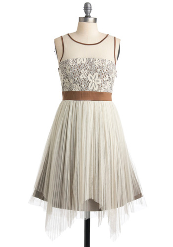 Greenhouse Garden Party Dress by Ryu - White, Bronze, Solid, Lace, A-line, Ballerina / Tutu, Sleeveless, Handkerchief, Pleats, Party, Spring, Mid-length, Embroidery