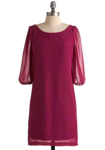 That Magenta Moment Dress - Pink, Solid, Shift, 3/4 Sleeve, Mid-length, Party, Fall