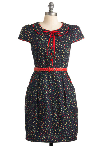 Social Buttercup Dress by Trollied Dolly - Blue, Floral, Bows, Buttons, Pockets, Cap Sleeves, Mid-length, Peter Pan Collar, Multi, Casual, Shift, Spring, Summer, Fall, Fruits, International Designer