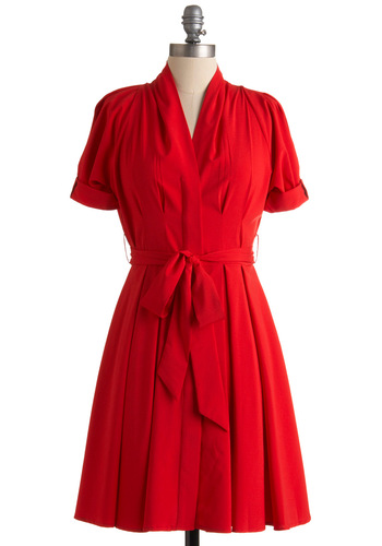 Seen in Quebec Dress - Red, Solid, Pleats, A-line, Short Sleeves, Mid-length, Fall, Work