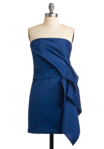 Water-Falling for You Dress - Blue, Solid, Pleats, Sheath / Shift, Strapless, Formal, Wedding, Party, Mid-length, Prom