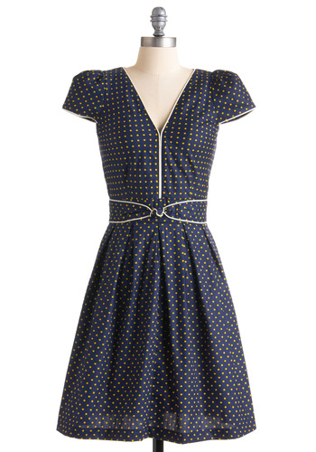 Lindy Hop Lovely Dress by Trollied Dolly - Blue, Yellow, Polka Dots, A-line, Cap Sleeves, Tan / Cream, Trim, Casual, Fall, Rockabilly, Pinup, Vintage Inspired, 40s, 50s, Show On Featured Sale, Print, Long, International Designer