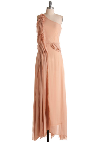 Evening of Effervescence Dress - Solid, Ruffles, Maxi, One Shoulder, Long, Formal, Wedding, Spring, Cream
