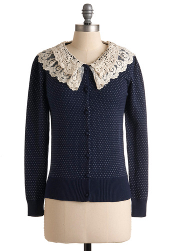 Meet Cute Cardigan - Blue, Tan / Cream, Polka Dots, Lace, Casual, Long Sleeve, Fall, Winter, Mid-length, Ruffles