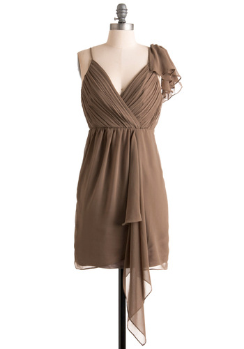Humming in Hazelnut Dress - Brown, Solid, Ruffles, Spaghetti Straps, Mid-length, Tan, Party, Empire