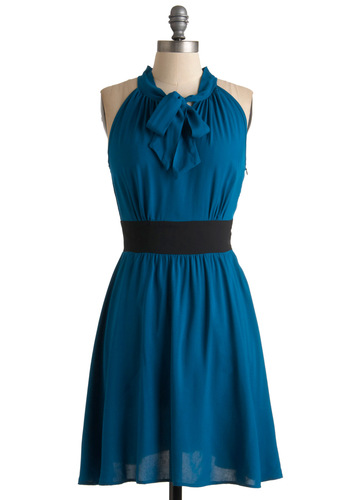 The Teal Deal Dress - Blue, Black, Solid, A-line, Bows, Casual, Halter, Spring, Short
