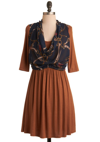 Truth and Libraries Dress by Miss Patina - Blue, 3/4 Sleeve, Brown, A-line, Purple, Tan / Cream, Fall, Work, 80s, Short