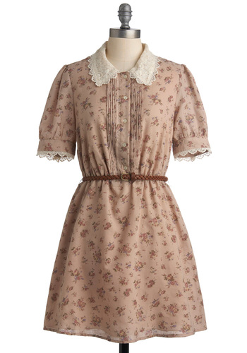 Tea and Scones Dress - White, Floral, Buttons, Lace, Peter Pan Collar, A-line, Short Sleeves, Mid-length, Work, Casual, Shirt Dress, Spring, Summer, Fall, Tan, Pink