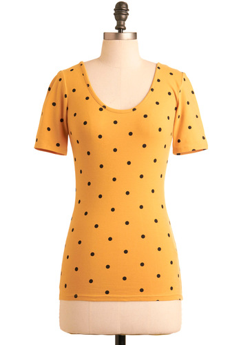 Came to Say Yellow Top - Yellow, Black, Polka Dots, Bows, Cutout, Short Sleeves, Casual, Spring, Summer, Mid-length, International Designer