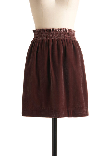 Kiss and Velvet Skirt - Solid, Pockets, Pink, Casual, Fall, Winter, Mid-length