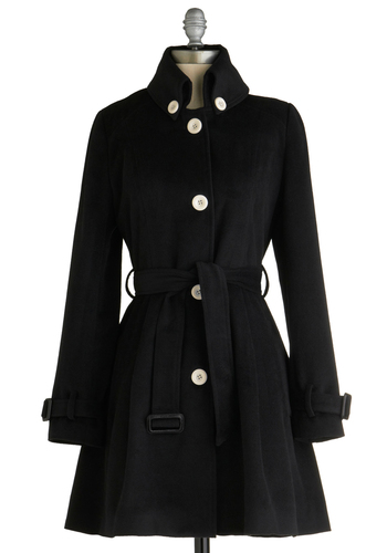 Chance Romance Coat - Black, Solid, Buttons, Party, Work, Long Sleeve, Fall, Winter, White, Bows, Buckles, Pleats, A-line, Long, 3