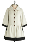 On the Avenue Coat by Knitted Dove - White, Black, Buttons, A-line, Party, Work, 3/4 Sleeve, Fall, Winter, Long, 2.5