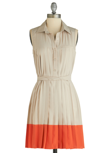 Sample 1240 - Tan, Orange, Buttons, Pleats, Pockets, Shirt Dress, Sleeveless, Mid-length