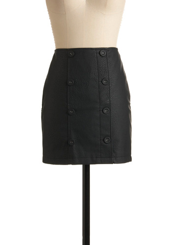 Main Stage Debut Skirt - Black, Solid, Buttons, Party, Fall, Winter, Mini, Short
