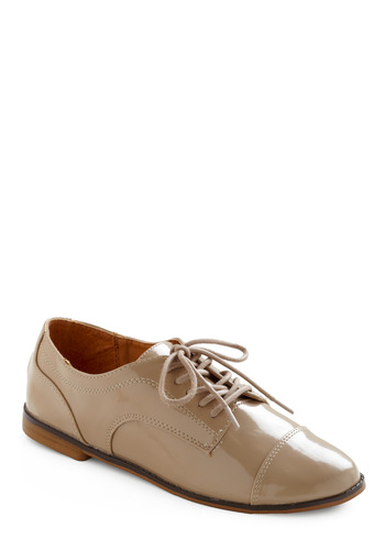 Going Brogue Flat - Tan, Solid, Work, Menswear Inspired, Spring, Fall
