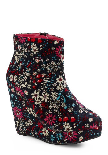 Flower Garden Variety Bootie - Black, Red, White, Floral, Party, Casual, Spring, Fall, Winter