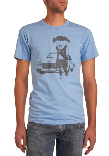 Stunt Stubble Tee - Blue, Short Sleeves, Grey, Novelty Print, Casual, Spring, Summer, Fall, Winter, Long