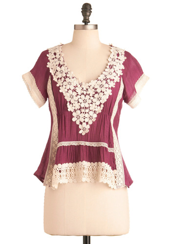 My Dear Friend Top - Lace, Short Sleeves, Tan / Cream, Solid, Crochet, Casual, Spring, Fall, Mid-length, Boho, Purple