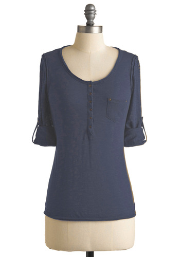 Long Weekend Lounging Top - Blue, Solid, Buttons, Pockets, Casual, Long Sleeve, Fall, Mid-length