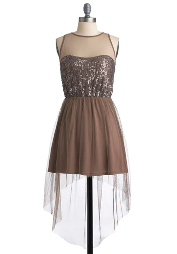 Party Pixie Dress - Tan, Sequins, A-line, Sleeveless, Short, Party, Ballerina / Tutu, Fairytale, Prom