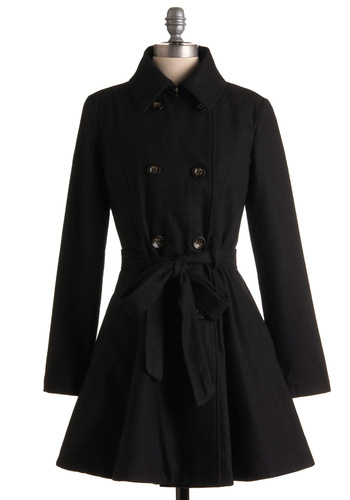 Out All Night Coat - Black, Solid, Buttons, Pleats, Pockets, Party, Work, Long Sleeve, Fall, Winter, Long, 2.5
