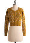 Wild Ochre Cardigan - Yellow, White, Polka Dots, Buttons, Long Sleeve, Casual, Short, Fall