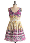 Picture Postcard Dress - Grey, White, Floral, A-line, Sleeveless, Mid-length, Multi, Lace, Party, Spring, Cotton, Fit & Flare