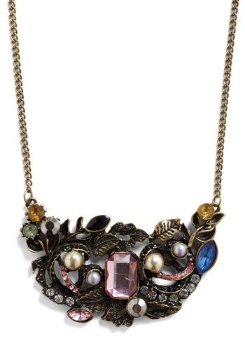 Heirloom-inous Necklace - Bronze, Yellow, Blue, Pink, Grey, White, Floral, Rhinestones, Special Occasion, Party, Vintage Inspired, Cocktail
