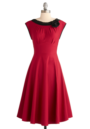 Red-y for My Closeup Dress by Stop Staring! - Red, Black, Solid, Flower, Pleats, Trim, Formal, Wedding, Party, Vintage Inspired, 50s, A-line, Sleeveless, Long, Rockabilly, Pinup, 40s, Show On Featured Sale, Prom