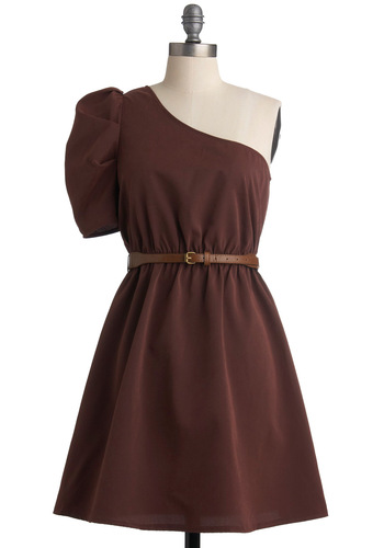 It Fig-ures Dress - Brown, Solid, Ruffles, A-line, One Shoulder, Buckles, Wedding, Party, Mid-length, Belted