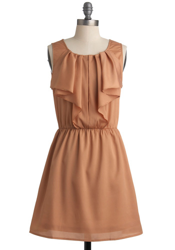 Frilling Adventure Dress - Solid, Ruffles, A-line, Sleeveless, Orange, Pleats, Party, Spring, Short, Press Placement