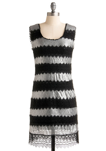 Hit the Lights Dress - Black, Silver, Solid, Lace, Sequins, Shift, Sleeveless, Mid-length, Party