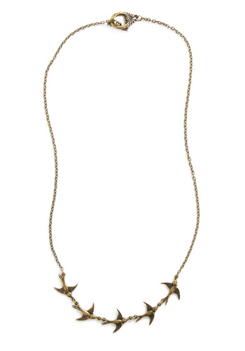 Ready for Takeoff Necklace - Gold, Casual, Print with Animals, Gold