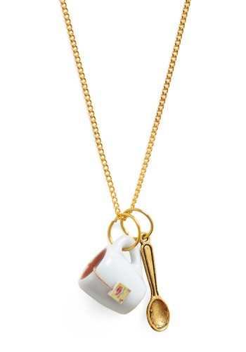 Stir and Sip Necklace by Hannah Makes Things - Gold, Red, Yellow, White