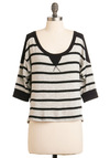 Hold the Line Top - Black, Stripes, Grey, Casual, 3/4 Sleeve, Fall, Winter, Short