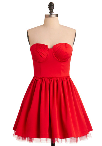 Scoring Poinsettias Dress - Red, Solid, Pleats, Ruffles, Ballerina / Tutu, Strapless, Party, Summer, Formal, Prom, Short